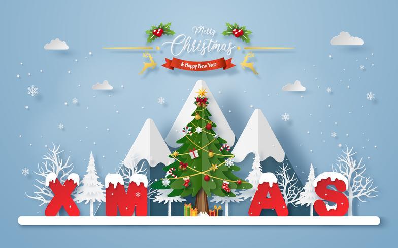 Kerstboom met woord KERSTMIS bij de berg vector