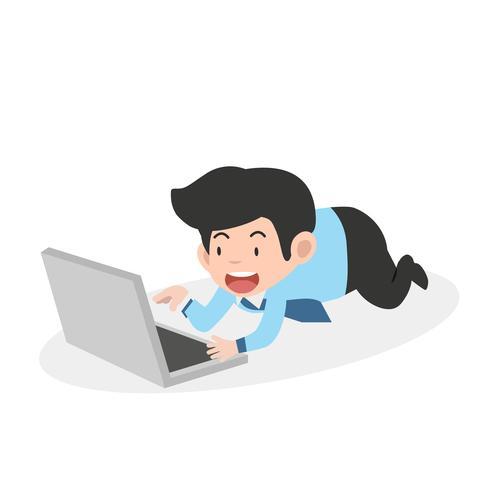 zakenman die op laptopcomputer werkt vector