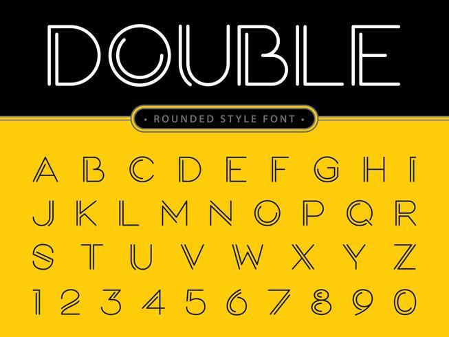 Dubbel effect Alfabetletters en cijfers vector