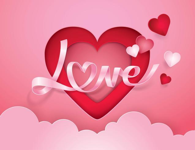 Cursief alfabet liefde en hart lint vector