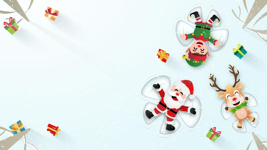 Kerstman die sneeuwhoeken maakt vector