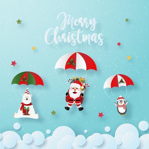 Origami papier kunst van Santa Claus en Kerstmis tekens in parachute vector