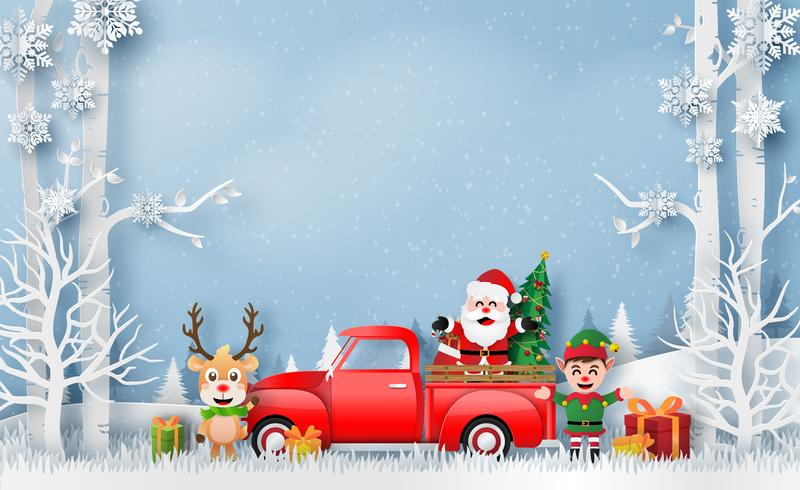 Kerstkaart met rode vrachtwagen met Santa Claus en rendieren vector