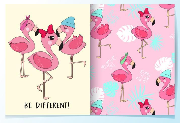 Hand getekend schattige flamingo's met patroon set vector