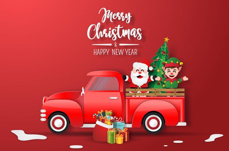 Prettige kerstdagen en gelukkig nieuwjaarskaart met kerstman en elf in rode vrachtwagen vector