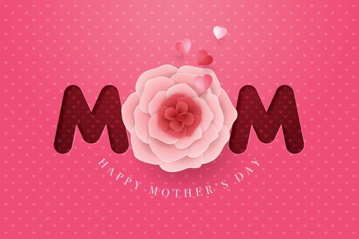 Papieren moederdag bloem Happy Mothers Day kaart vector