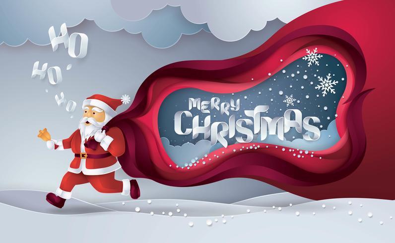 Merry Christmas Card Origami papierstijl vector