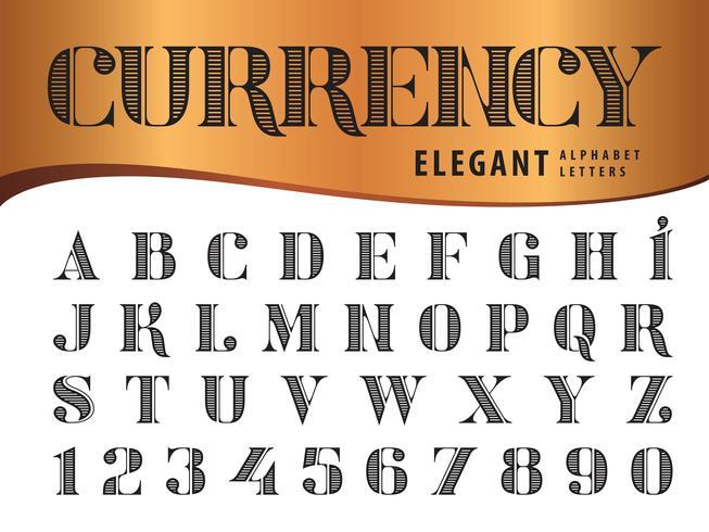Elegante Alfabetletters en cijfers vector