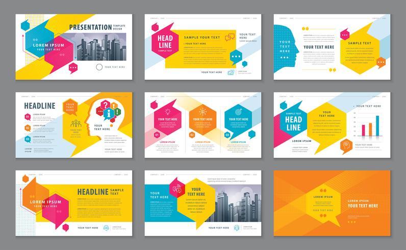 Kleurrijke abstracte presentatiesjablonen vector
