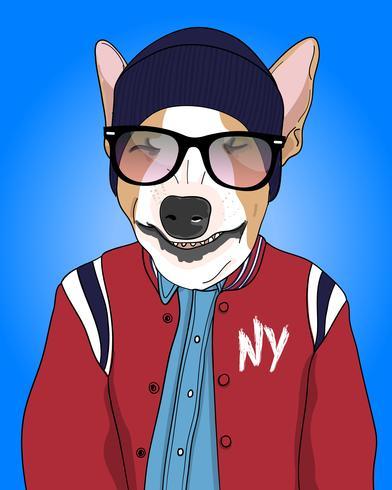 Hand getekend cool hond dragen jas en muts illustratie vector