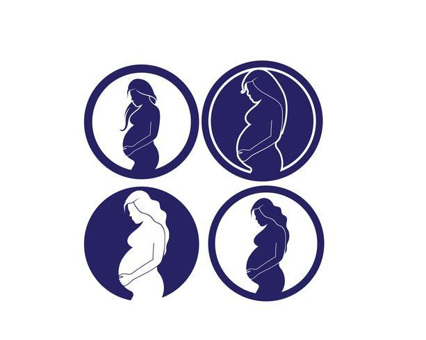 Zwangere vrouwen icon set vector