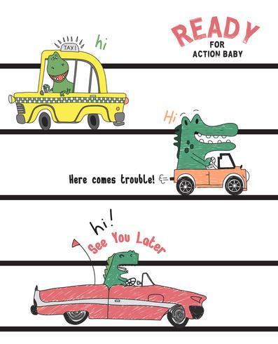 Hand getekend schattige dinosaurussen in auto's illustratie vector