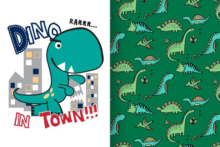 Dino in Town Hand Drawn Cute Dinosaur met patroon ingesteld vector