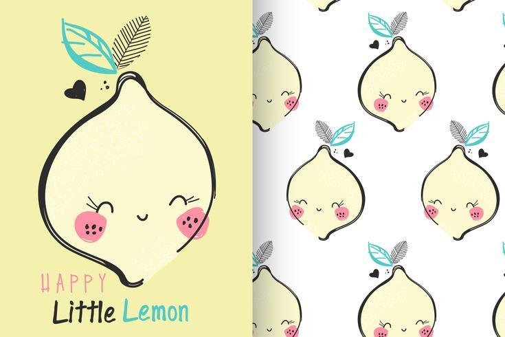 citroen met patroon ingesteld vector
