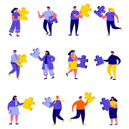 Set van platte mensen puzzel elementen tekens verbinden vector