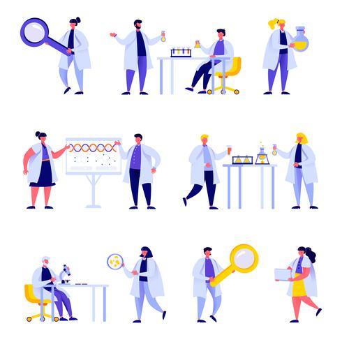 Set van platte mensen wetenschap laboratoriumpersoneel tekens vector