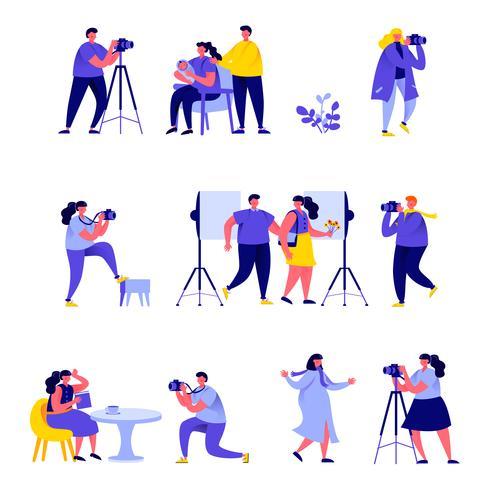 Set van platte mensen fotografen verschillende foto's nemen vector