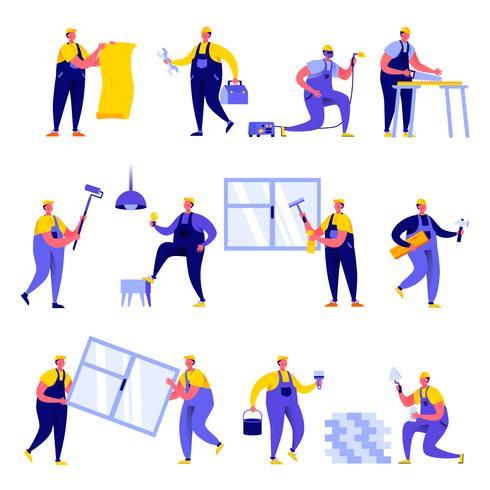 Set van platte mensen thuis reparatie werknemer karakters vector