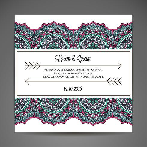 Uitnodigingskaart met kant sieraad. vector