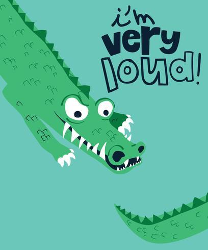 Ik ben een zeer luide krokodil vector