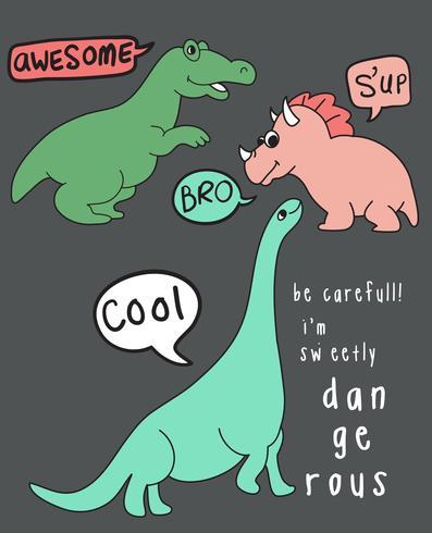 Coole gevaarlijke dinosaurus vector