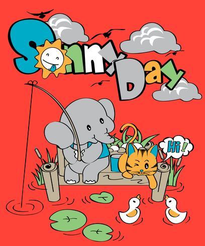 Zonnige dag olifant vector