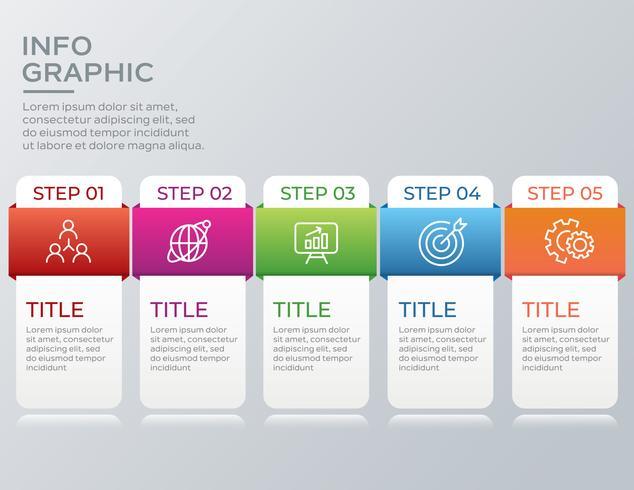 Moderne zakelijke infographic met vijf stappen vector
