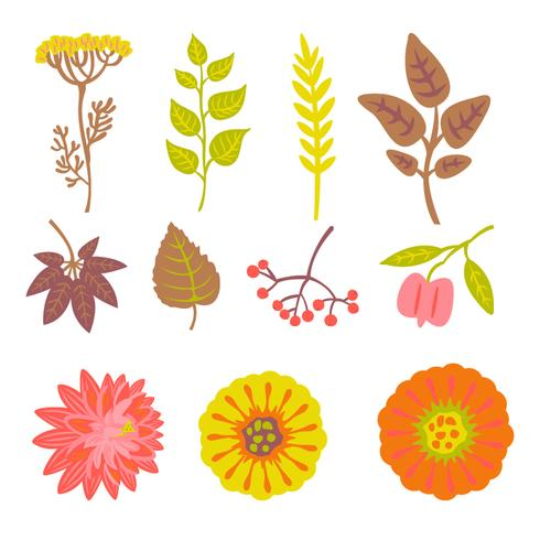 Herfst bloemen elementen set vector