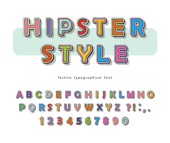 Hipster stijl lettertype ontwerp vector