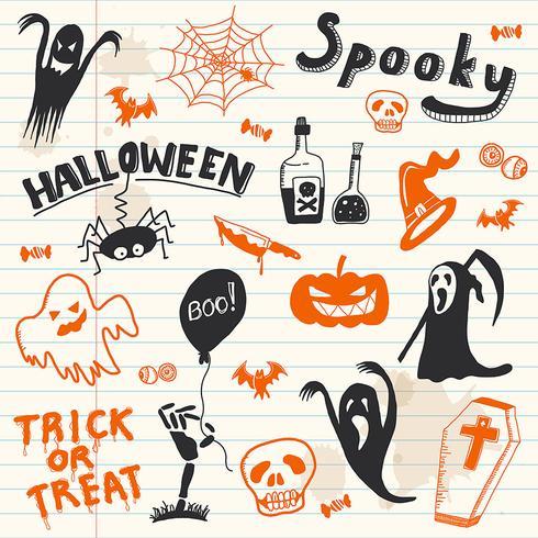 Halloween Doodles-elementen. vector