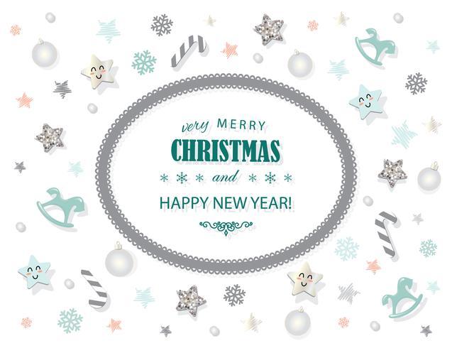 Vrolijk kerstfeest en Nieuwjaar kaartsjabloon vector