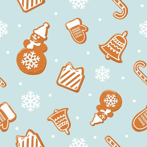 Kerst peperkoek naadloze patroon vector