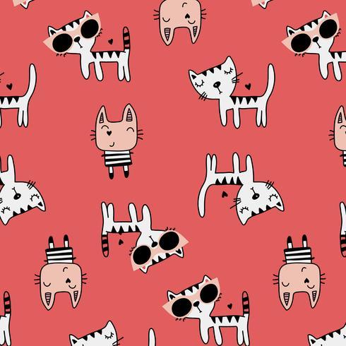 Hand getekend cartoon katten met zonnebril patroon vector