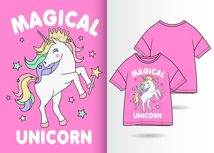 Magische Unicorn Hand getrokken T-shirt ontwerp vector