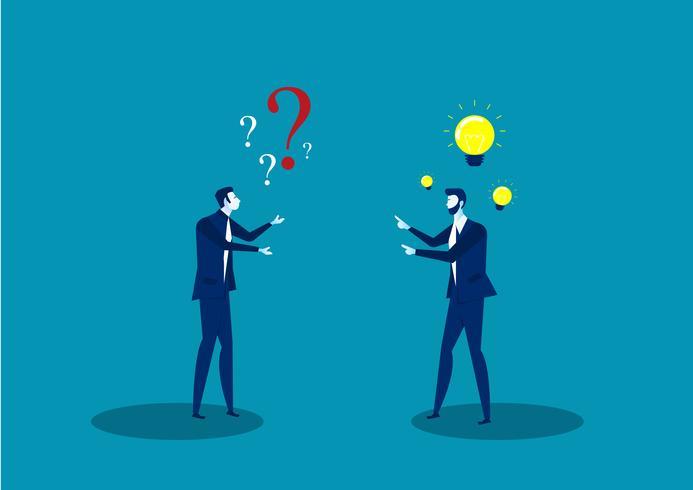 twee zakenmannen delen ideeën vector