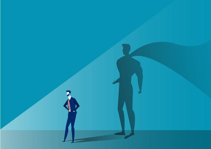 Bedrijfsmens met grote schaduwsuperhero op blauwe achtergrond vector