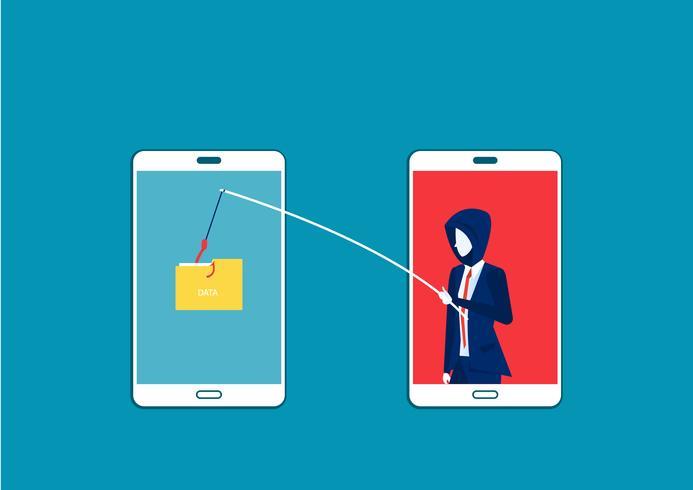 zakenman stelen gegevens, hacker aanval op smartphone vector
