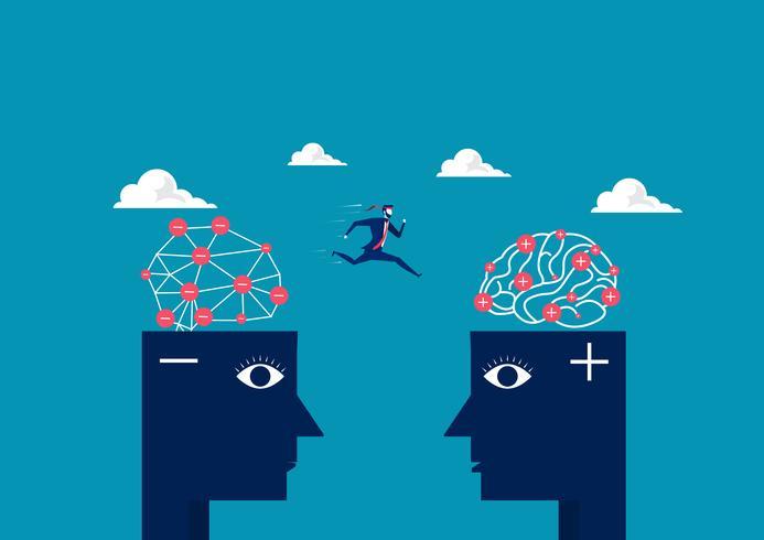 zakenman springen tussen negatief hoofd naar positief denkende hoofd vector