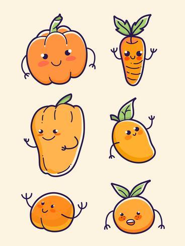 oranje fruit en plantaardige pompoen, wortel, papaya, mango, perzik en sinaasappel set vector