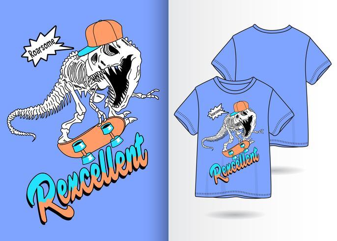 Rexcellent Dino Handgetekend T-shirtontwerp vector