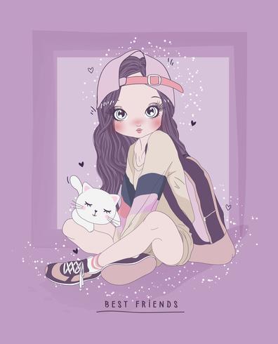 Hand getekend schattig meisje, zittend op de grond met kat en typografie vector