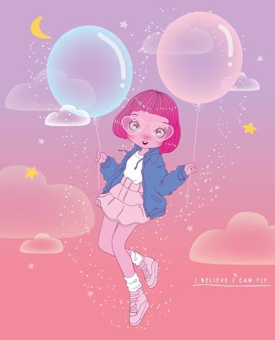 Hand getekend schattig meisje drijvend met ballonnen en ik geloof dat ik typografie kan vliegen vector