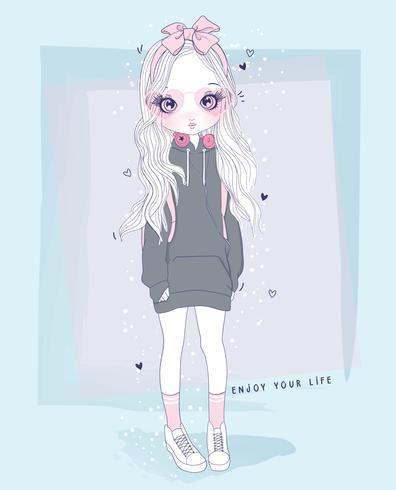 Hand getekend schattig meisje dragen lange sweater met geniet van je leven typografie vector