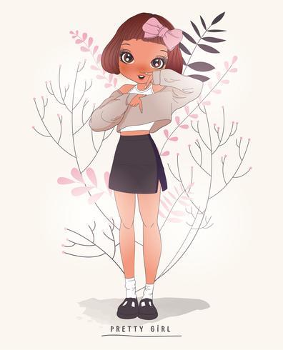 Hand getekend schattig meisje in rok en trui met bloem achtergrond vector