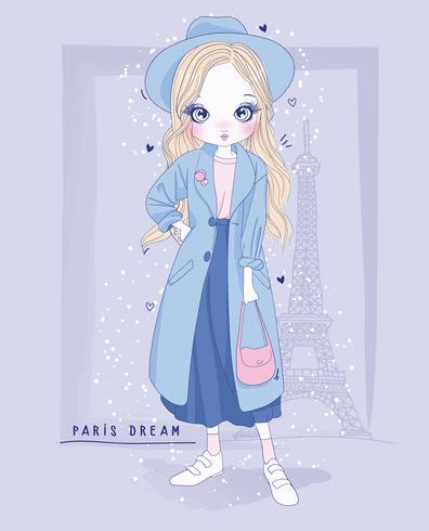 Hand getekend schattig meisje dragen lange jas met Parijs achtergrond vector