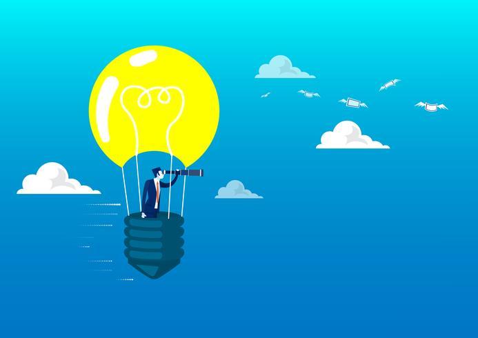 Bedrijfs mens die door de telescoop op ballon gloeilamp kijkt vector