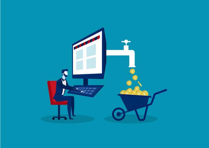 Bedrijfsconcept voor het maken van winst met behulp van internet voor freelancen vector