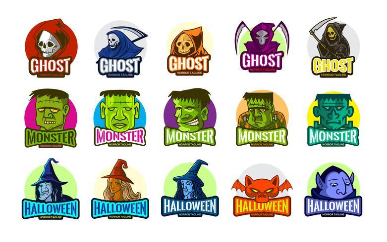 Horror Ghosts Set voor Halloween en eSports vector