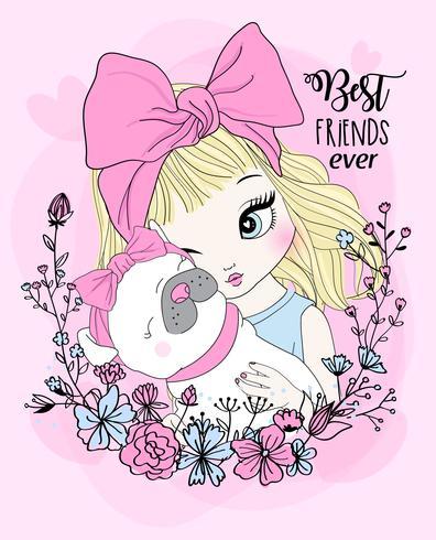 Hand getekend schattig meisje met pug beste vriend en bloem krans vector