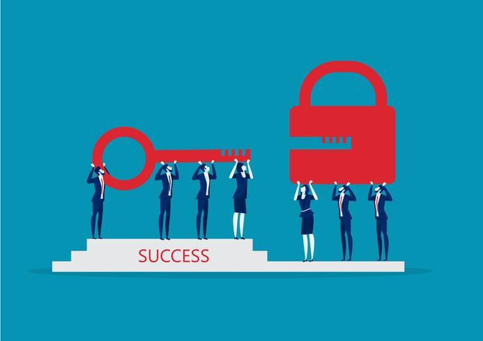 Commercieel team dat rode sleutel houdt om slot te openen. Succes oplossing. vector
